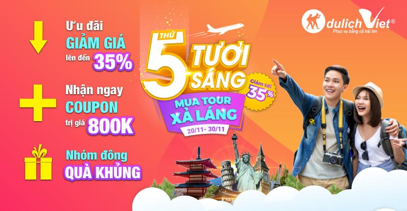 """""""White Thursday"""" tuần lễ khuyến mại lớn nhất của Du Lịch Việt"""