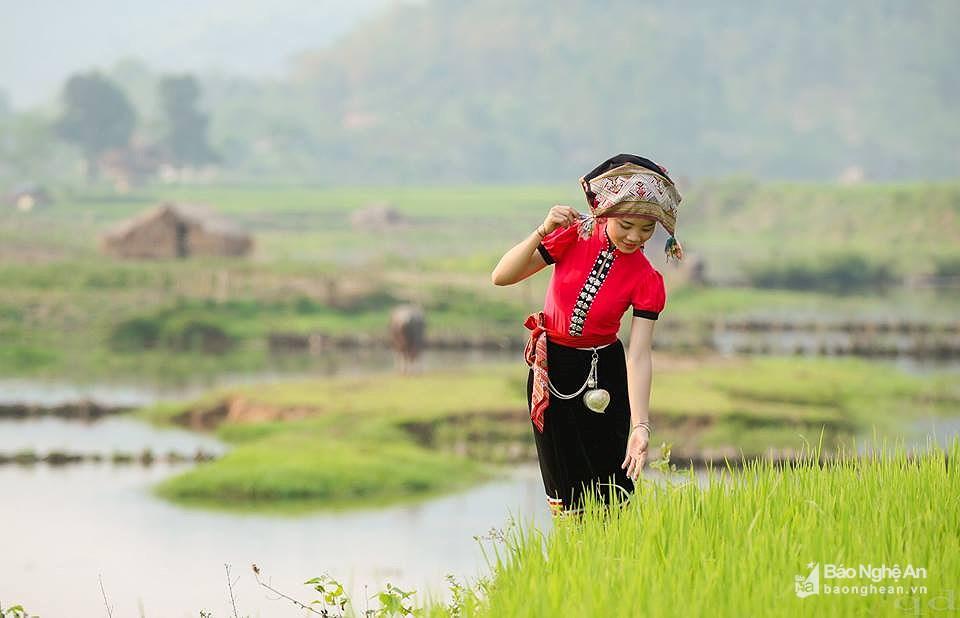 Độc đáo chiếc khăn thêu trong đời sống văn hóa tâm linh người Thái Nghệ An