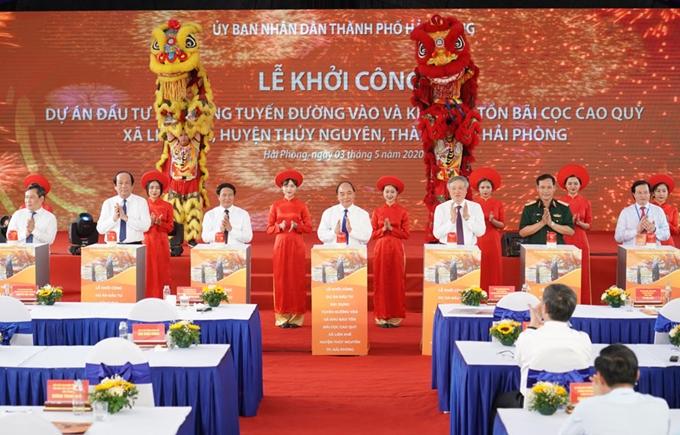 Thủ tướng dự lễ khởi công dự án bảo tồn bãi cọc Cao Quỳ, Hải Phòng