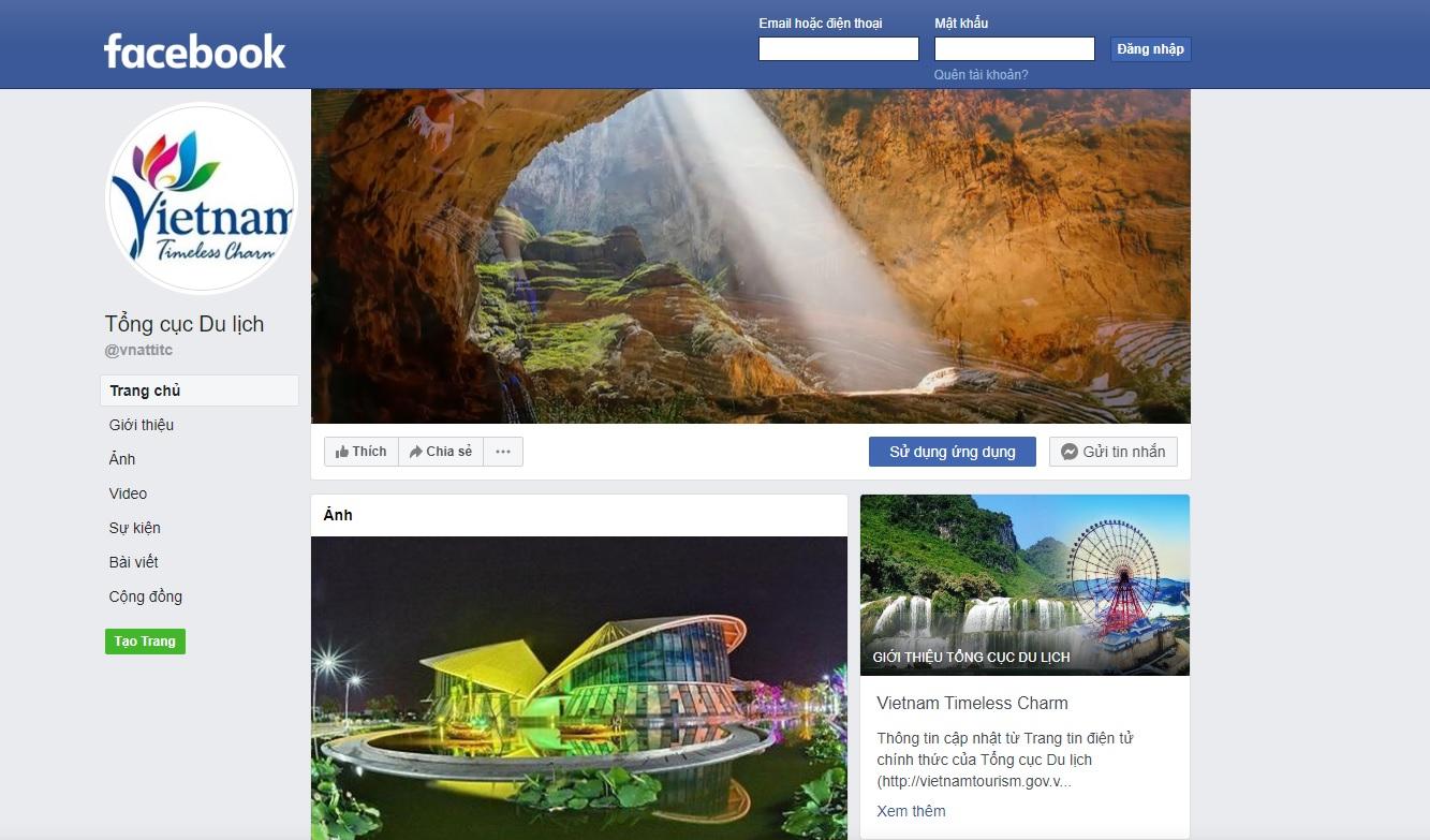 Trang thông tin điện tử chính thức của Tổng cục Du lịch trên nền tảng mạng xã hội Facebook