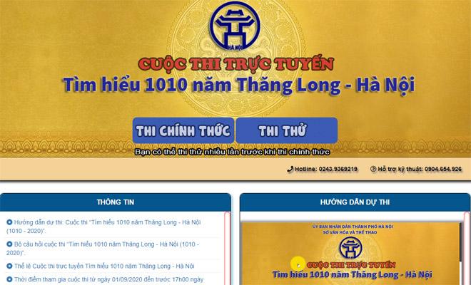 Ngày 1-9, khởi động cuộc thi trực tuyến ''Tìm hiểu 1010 năm Thăng Long - Hà Nội''