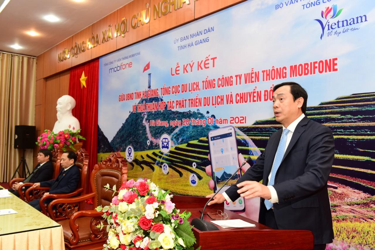 Tổng cục trưởng Nguyễn Trùng Khánh: Hợp tác giữa Tổng cục Du lịch, MobiFone và UBND tỉnh Hà Giang là bước đột phá, thúc đẩy chuyển đổi số và du lịch thông minh ở Hà Giang