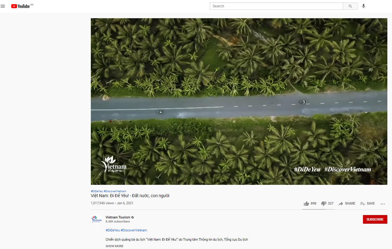 """Clip quảng bá """"Đất nước, con người Việt Nam"""" trên nền tảng YouTube vượt mốc triệu views sau 1 tháng ra mắt"""