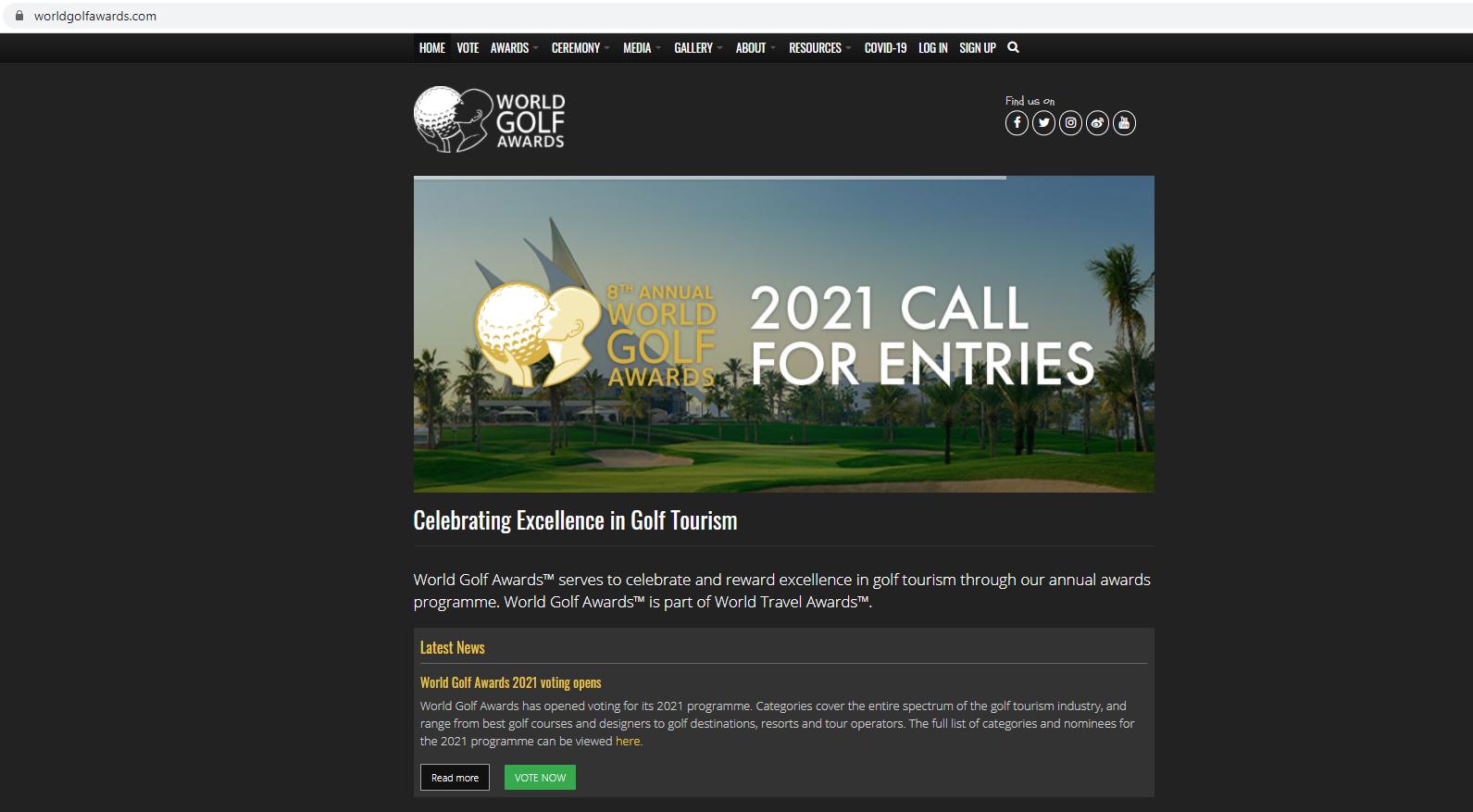 Cùng bình chọn cho Du lịch Việt Nam tại Giải thưởng Golf thế giới - World Golf Awards 2021