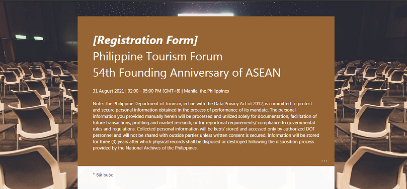 """Mời tham dự Diễn đàn du lịch Philippines """"Du lịch ASEAN hướng tới phục hồi và tự cường"""""""